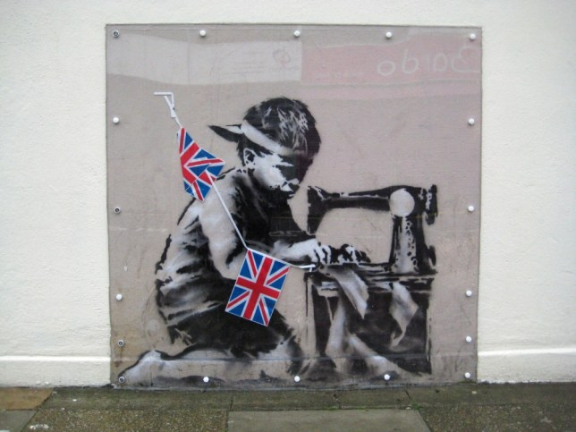epa03727835   An undated handout picture provided by Haringey Council on 20 February 2013 shows a mural by British artist Banksy in London.The artwork that went missing from a wall in north London and then withdrawn from an auction in the US is up for sale again. Called Slave Labour, it disappeared from Wood Green in February and appeared in a Miami auction. It was removed after protests but is now being offered for sale  EPA/HARINGEY COUNCIL / HO  HANDOUT EDITORIAL USE ONLY/NO SALES HANDOUT EDITORIAL USE ONLY/NO SALES