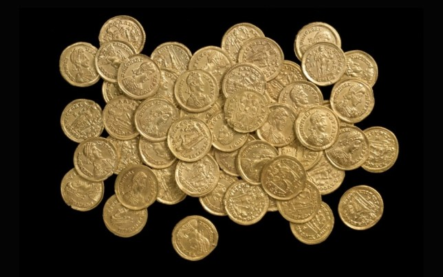 INS News Agency Ltd.17/10/2012 A nationally significant find of 159 Late Roman gold coins has been found by a metal detectorist on private land in the north of the district of St Albans in Hertfordshire. The find is believed to be one of the largest Roman gold coin hoards ever discovered in the UK.   A team from St Albans City & District Councils Museums Service investigated the site at the beginning of October and confirmed the find. The coins are in very good condition and were scattered across a fairly wide area.  Evidence suggests that the hoard was disturbed in the last couple of hundred years due to quarrying activity or plough action.   The coins date to the very end of Roman rule in Britain, and there are practically no other comparable gold hoards of this period.  After AD 408 no further coin supplies reached Britain.   See copy INScoin