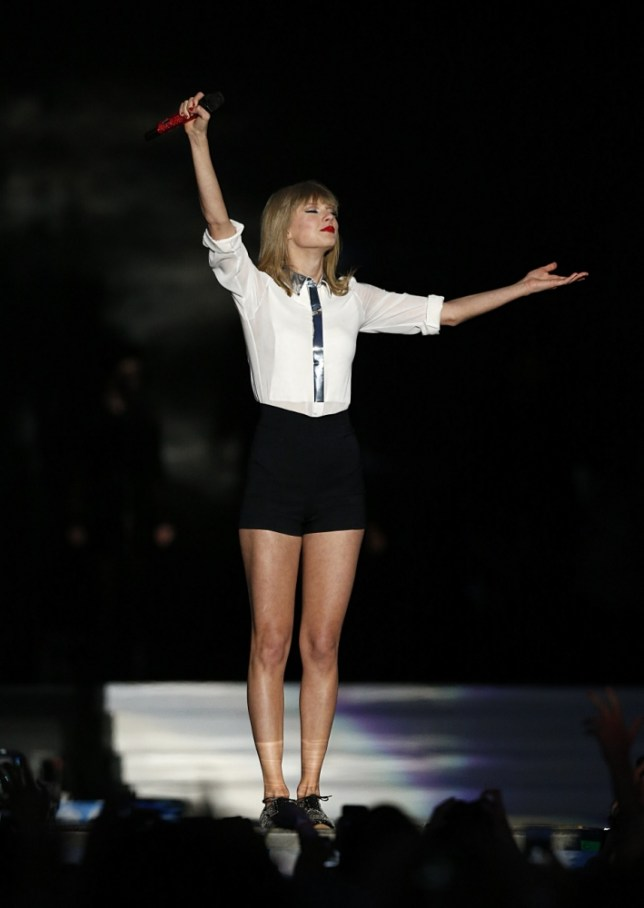 Taylor Swift onstage at the Capital FM Summertime Ball at Wembley in London. PRESS ASSOCIATION Photo. Picture date: Sunday June 9, 2013. Photo credit should read: Jonathan Brady/PA Wire