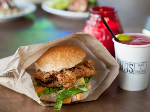 Man proposes with ring poking out of a chicken burger
