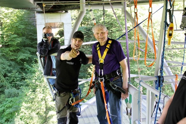 Handout photo issued by Highland Fling Bungee of dare-devil nonagenarian Bob Steele a widowed former serviceman says he will ëdo it againí after becoming the oldest bungee jumper in Europe on his 90th birthday.  PRESS ASSOCIATION Photo.Picture date: Monday June 17, 2013. See PA story ADVENTURE Bungee. Photo credit should read: Highland Fling Bungee/PA Wire NOTE TO EDITORS: This handout photo may only be used in for editorial reporting purposes for the contemporaneous illustration of events, things or the people in the image or facts mentioned in the caption. Reuse of the picture may require further permission from the copyright holder.