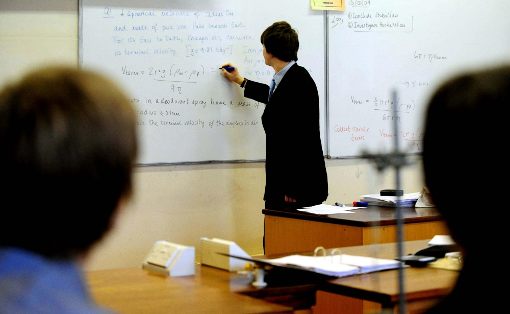 Year 12 students during physics class at the top school in the country, Lawrence Sheriff School in Rugby, after the league tables for English schools was released today.