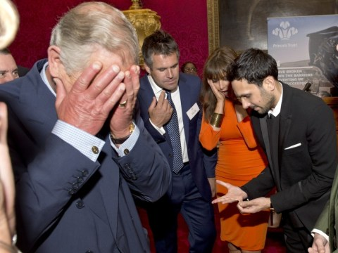 Prince of Wales cringes as magician Dynamo breaks finger in trick