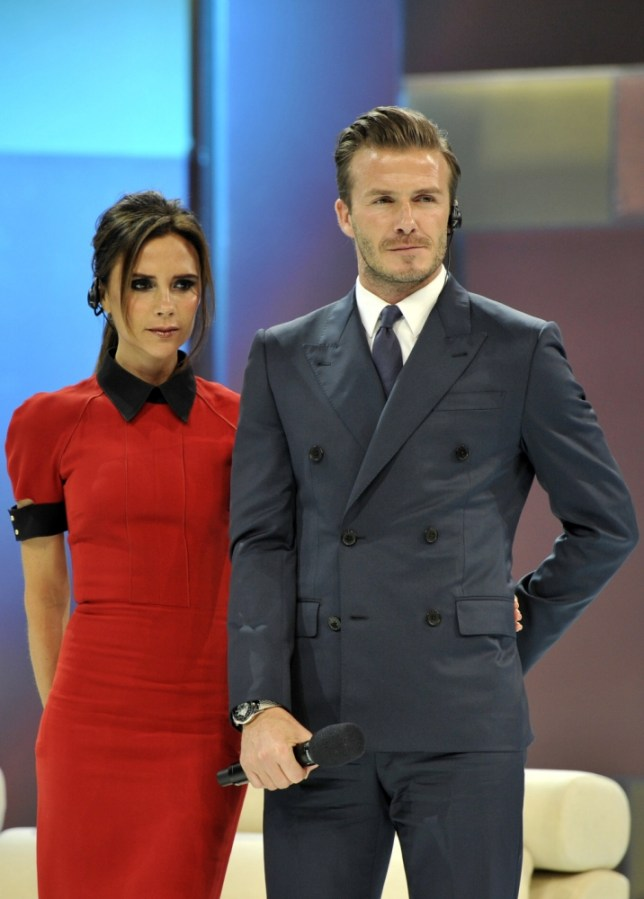 BEIJING, CHINA - JUNE 23:  (CHINA OUT) David Beckham and Victoria Beckham attend China Central Television show on June 23, 2013 in Beijing, China.  (Photo by ChinaFotoPress/ChinaFotoPress via Getty Images)