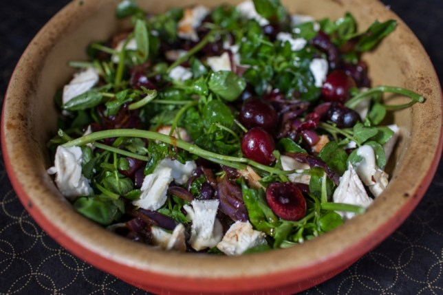 Chicken, cherries & goat's cheese with watercress (Picture:  Oli Jones)