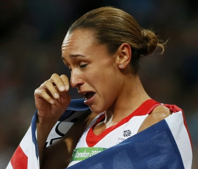 Britain's Jessica Ennis celebrates winning her women's heptathlon 800m heat at the London 2012 Olympic Games at the Olympic Stadium August 4, 2012. Ennis was the overall winner in the heptathlon.                REUTERS/Lucy Nicholson (BRITAIN  - Tags: SPORT ATHLETICS OLYMPICS)
