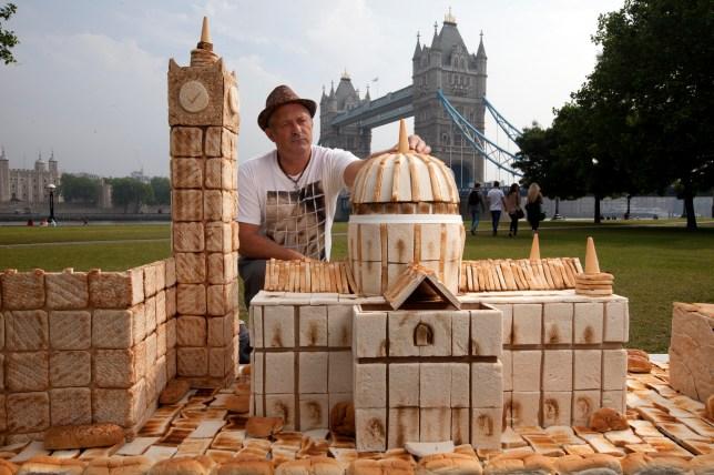 Food artist Lennie Payne, bread buildings