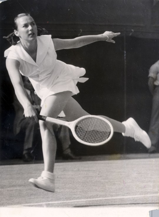 Gussy Moran in action at Wimbledon in 1949 (Picture: Fulton/Getty)