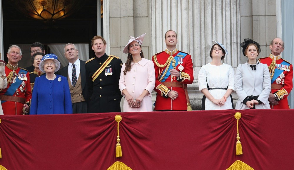 LONDON, ENGLAND - JUNE 15:  Prince Charles, Prince of Walesl, Princess Anne, Princess Royal, Queen Elizabeth II, Prince Andrew, Duke of York, Prince Harry, Catherine, Duchess of Cambridge, Prince William, Duke of Cambridge, Princess Eugenie, Princes Beatrice and Prince Edward, Duke of Kent stand on the balcony at Buckingham Palace during the annual Trooping the Colour Ceremony on June 15, 2013 in London, England. Today's ceremony which marks the Queens official birthday will not be attended by Prince Philip the Duke of Edinburgh as he recuperates from abdominal surgery and will also be The Duchess of Cambridge's last public engagement before her baby is due to be born next month. Getty Images