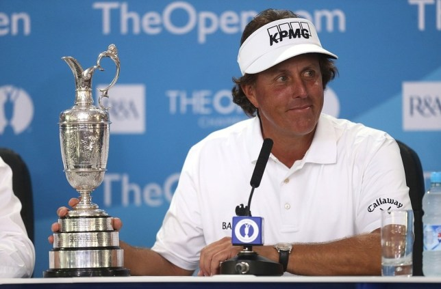 USA's Phil Mickelson with the Claret Jug during a press conference after winning the 2013 Open Championship at Muirfield Golf Club, East Lothian. PA Wire/Press Association Images