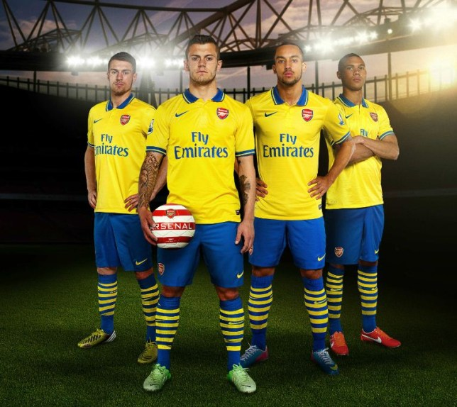 new arrival 64569 61a8f Arsenal new away kit 2013/14: Gunner reveal new yellow and ...