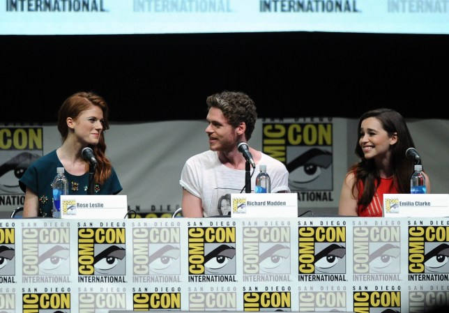 Rose Leslie, Richard Madden, and Emilia Clarke attend the Game Of Thrones panel (Picture: Getty)