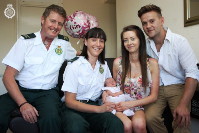 "Undated West Midlands Ambulance Service handout photo of (left - right) ECA Nigel Goodman, Paramedic Nikki Wildman, baby Ella Nicola, mother Melissa Cavanagh and father Paul Yeomans. The baby girl who was safely delivered in a broken-down lift has been named Ella - after the elevator she was born in. PRESS ASSOCIATION Photo. Issue date: Wednesday July 10, 2013. Mother Melissa Cavanagh called paramedics to her home, on the ninth floor of a block of flats, after she started having contractions on Friday afternoon, West Midlands Ambulance Service said. On arrival, the three paramedics ruled out using the numerous flights of stairs to get the expectant mother to hospital, so Ms Cavanagh, 23, boyfriend Paul Yeomans, 25, and the medics all got into the lift, only for it to grind to a halt. After being stuck for 20 minutes in cramped, hot conditions, the mother-to-be's contractions became increasingly frequent and it became obvious the baby was not going to wait for a rescue. Nikki Wildman, one of the paramedics, said: ""During the delivery we could hear the fire service desperately trying to get to us and, after about 45 minutes of being trapped, the firefighters managed to prise open the doors and we were able to take Melissa, Paul and their new bouncing baby girl to hospital."" Emergency care assistant (ECA) Nigel Goodman, who was part of the ambulance crew trapped in the lift, said: ""When it was all over, I remember saying to Melissa and Paul that they should call her Ella, short for elevator - and they have!"" See PA story HEALTH Lift. Photo credit should read: West Midlands Ambulance Service/PA Wire  NOTE TO EDITORS: This handout photo may only be used in for editorial reporting purposes for the contemporaneous illustration of events, things or the people in the image or facts mentioned in the caption. Reuse of the picture may require further permission from the copyright holder."