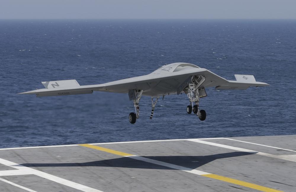 US Navy jet, drone