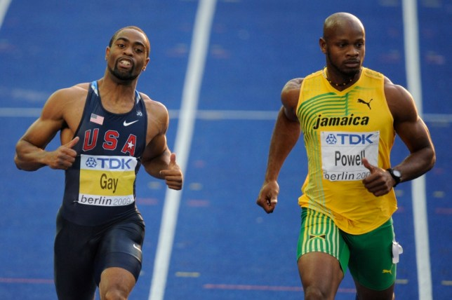 (FILES) Photo dated August 16, 2009 shows US Tyson Gay (L) and Jamaica's Asafa Powell (R) in the men's 100m semi-final race of the 2009 IAAF Athletics World Championships in Berlin. US sprinter Tyson Gay, the 2013 fastest man over 100m, and former world 100m record holder Jamaican Asafa Powell, have failed dope tests according to reports in the US media on July 14, 2013.  AFP PHOTO DDP/ THOMAS LOHNESTHOMAS LOHNES/AFP/Getty Images