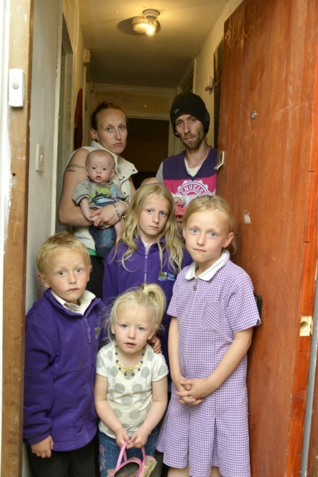 Gavin and Maggie Flisher in their one bedroom flat with their six children. See MASONS story MNHOUSE: A husband and wife who claim to have had six children by mistake while living in their ONE BEDRROM flat have demanded a four bedroom house from the council - for FREE. Maggie Flisher, 26, and her husband Gavin, 30, have not worked a single day between them since giving birth to their first child in 2005. Instead they rely on a total of £27,000 in benefits paid out to them and their six children, who are all under the age of eight. Incredibly the couple say they have been let down by contraception FIVE TIMES which is why all of their children have been born in the unsuitable living space. The fertile pair say the pill, condoms, arm implants and an injection have all failed to stop them conceiving. It means the three eldest children Lacieann, eight, Elektra, six, Gavin Jnr, five all currently sleep in the only bedroom.