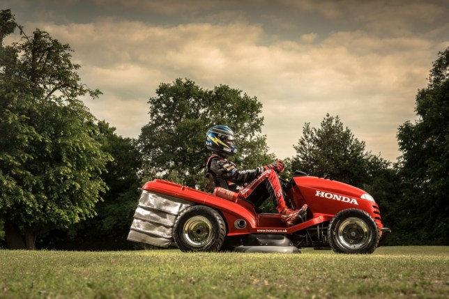 Honda has entered the cutting edge world of Farm-ula One by building this ride-on lawnmower capable of a record-breaking 130mph. See SWNS story SWMOW;  The car maker has teamed up with its British Touring Car partner, Team Dynamics, to create a one-off, sports car beating mower. Engineers at the Worcestershire-based tuning firm took a bog standard Honda HF2620 Lawn Tractor which would typically cost £5,000 and do 7mph. But they shoehorned a 1,000cc Honda Firestorm superbike engine into the mower, giving the grass cutting monster an incredible 532bhp per tonne - MORE than a Bugatti Veyron.