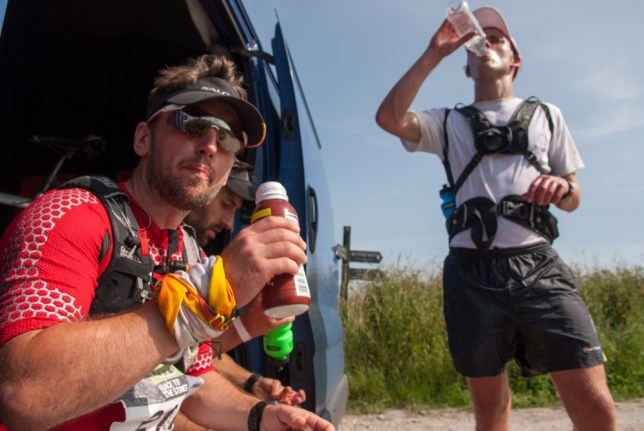 Tobias Mews takes a pit stop in his ultra marathon (Picture: James Carnegie)