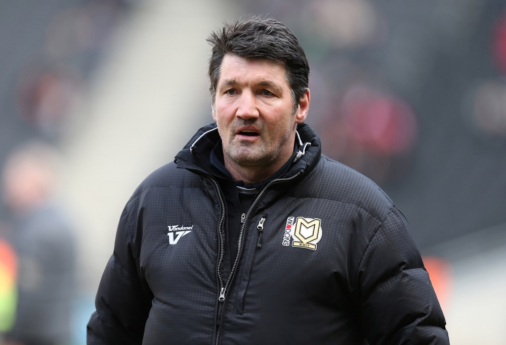 MILTON KEYNES, ENGLAND - MARCH 16:  MK Dons assistant manager Mick Harford looks on prior to the npower League One match between MK Dons and Tranmere Rovers at Stadium MK on March 16, 2013 in Milton Keynes, England.  (Photo by Pete Norton/Getty Images)