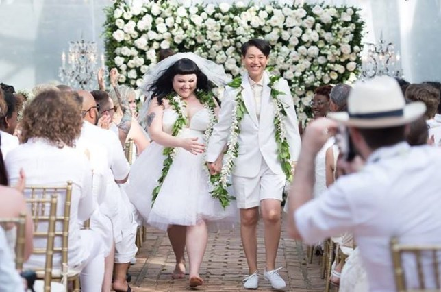All white: Happy couple Beth and Kristin. Pic: Facebook handout