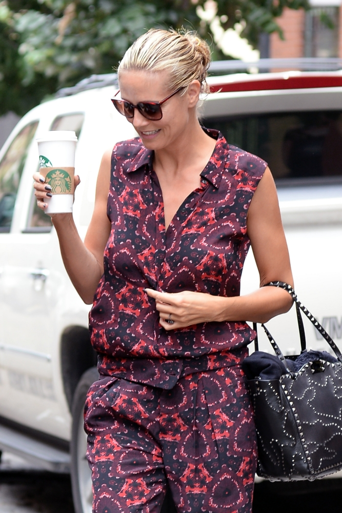 Heidi Klum orders her Starbucks to go in New York ahead of America's Got Talent show