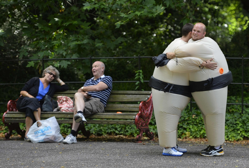 Gallery: Runners dressed in inflatable sumo costumes take part in Battersea Park charity run
