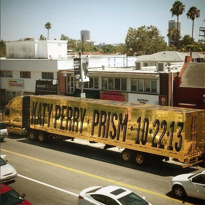 Katy Perry confirms new album title Prism via giant gold truck