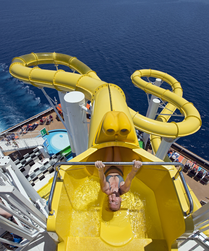 Making a splash: A rider tries out the Twister waterslide (Picture: Carnival Cruise Lines/Andy Newman)