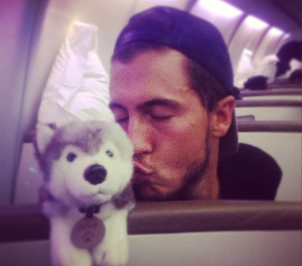 Eden Hazard has clearly taken to Storm the travelling husky (Picture: Instagram/huskystorm13)