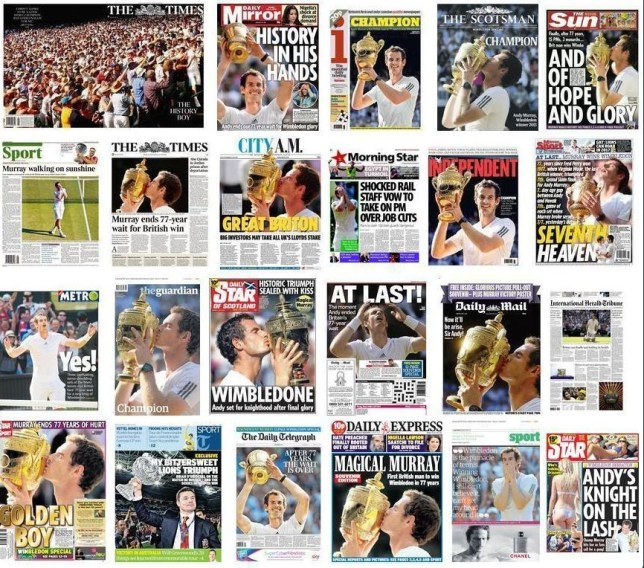 Ace: Murray graced all of the newspaper front pages this morning