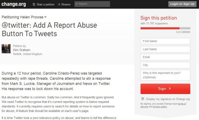 This petition has amassed over 12,500 signatures and has led Twitter to announce plans to add a 'report abuse' button (Picture: change.org)