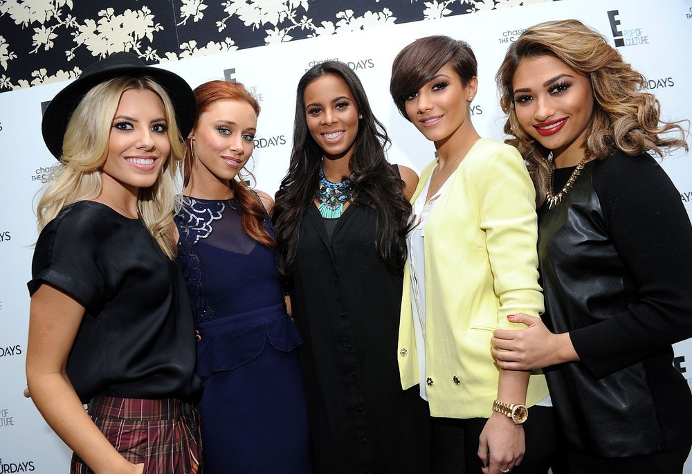 The Saturdays (left - right) Mollie King, Una Healy, Rochelle Humes, Frankie Sandford and Vanessa White as they launch their new TV programme Chasing The Saturdays at the Soho Hotel, London. PA Wire/Press Association Images