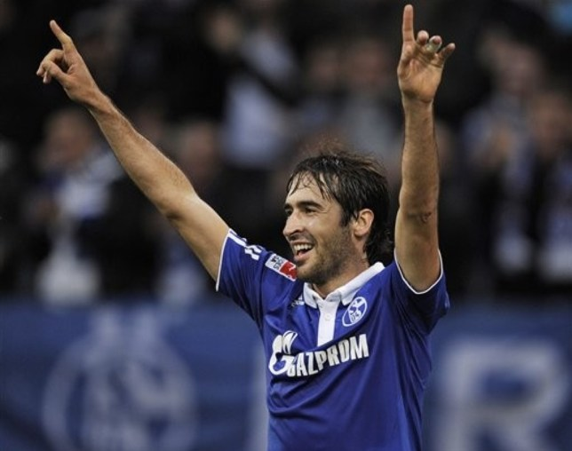 Schalke's Raul of Spain celebrates after scoring during the German first division Bundesliga soccer match between FC Schalke 04 and Werder Bremen in Gelsenkirchen, Germany, Saturday, Nov. 20, 2010. Schalke defeated Bremen by 4-0, Raul scored 3 goals. AP