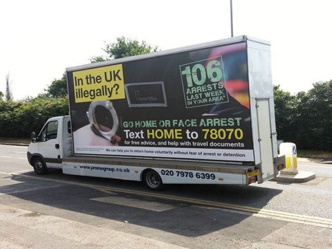 Home Office's 'go home' posters banned