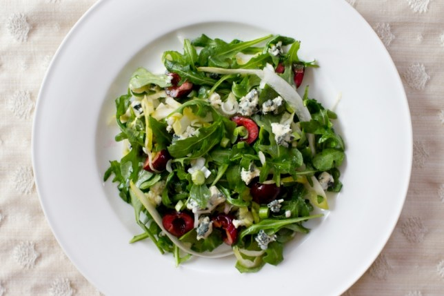 Try this delicious supper of blue cheese and cherry salad tonight (Picture: Oli Jones)
