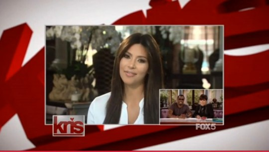 """2 August 2013 - Los Angeles - USA  **** STRICTLY NOT AVAILABLE FOR USA ***  Kim Kardashian leaves mum Kris Jenner in tears after recording surprise message for her talk show. The 32 year-old reality star and new mum herself appeared in a brief video recording on Jenner's new daytime chat show. She surprised Jenner with the message, which was introduced by Jenner's co-host for the day P Diddy. In the message Kim tells Jenner: """"Hey mom, I just wanted to say congratulations on your new show. I'm sorry I couldn't be there in person but I'm just loving life a little bit too much at home right now. But I watch you every single day and you are so amazing. You really are born to do this. I just want to say I love you and have an amazing show."""" Jenner then broke down in tears and had to wipe her eyes with a towel that Diddy handed her before replying: """"You did make me cry, thank you Kimmy!"""" XPOSURE PHOTOS DOES NOT CLAIM ANY COPYRIGHT OR LICENSE IN THE ATTACHED MATERIAL. ANY DOWNLOADING FEES CHARGED BY XPOSURE ARE FOR XPOSURE'S SERVICES ONLY, AND DO NOT, NOR ARE THEY INTENDED TO, CONVEY TO THE USER ANY COPYRIGHT OR LICENSE IN THE MATERIAL. BY PUBLISHING THIS MATERIAL , THE USER EXPRESSLY AGREES TO INDEMNIFY AND TO HOLD XPOSURE HARMLESS FROM ANY CLAIMS, DEMANDS, OR CAUSES OF ACTION ARISING OUT OF OR CONNECTED IN ANY WAY WITH USER'S PUBLICATION OF THE MATERIAL.    BYLINE MUST READ : Fox/XPOSUREPHOTOS.COM   PLEASE CREDIT AS PER BYLINE *UK CLIENTS MUST CALL PRIOR TO TV OR ONLINE USAGE PLEASE TELEPHONE  44 208 370 0291"""
