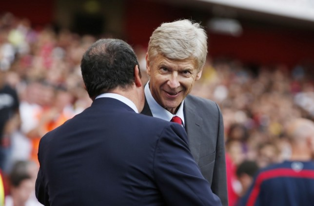 Football - Arsenal v S.S.C Napoli - Emirates Cup 2013 - Pre Season Friendly Tournament  - Emirates Stadium - 3/8/13  Arsenal manager Arsene Wenger (R) and Napoli manager Rafael Benitez before the match  Mandatory Credit: Action Images / John Sibley  Livepic