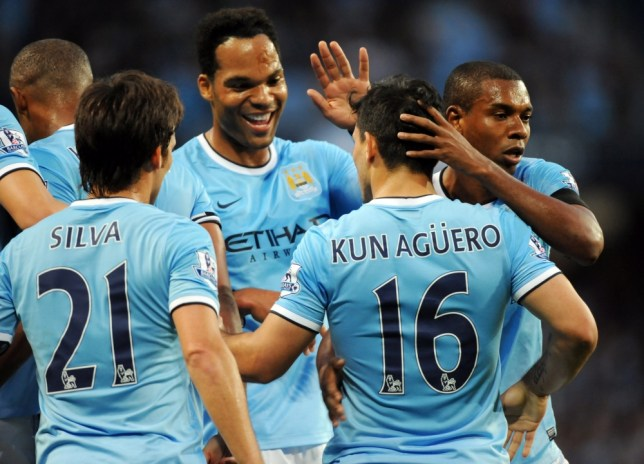 epa03831093 Manchester City's Sergio Aguero (2-R) celebrates with his teammates during the English Premier League soccer match between Manchester City and Newcastle United at the Etihad Stadium in Manchester, Britain, 19 August 2013.  EPA/PETER POWELL DataCo terms and conditions apply https://www.epa.eu/downloads/DataCo-TCs.pdf