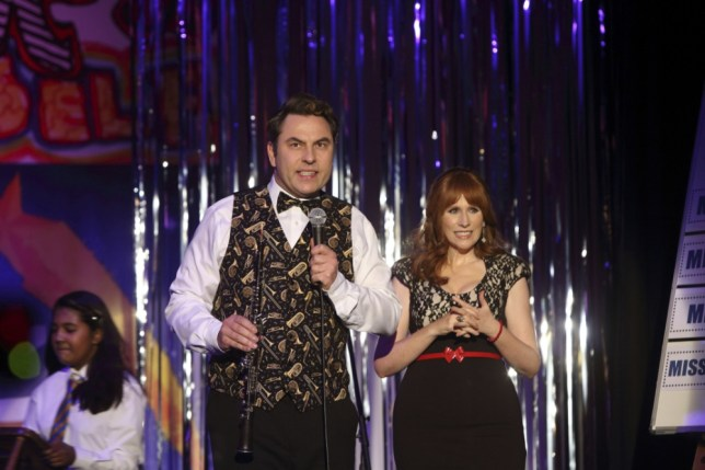 Programme Name: Big School - TX: 23/08/2013 - Episode: Talent Show (No. 2) - Embargoed for publication until: n/a - Picture Shows: (L-R) Mr Church (DAVID WALLIAMS), Miss Postern (CATHERINE TATE) - (C) BBC - Photographer: Jack Barnes