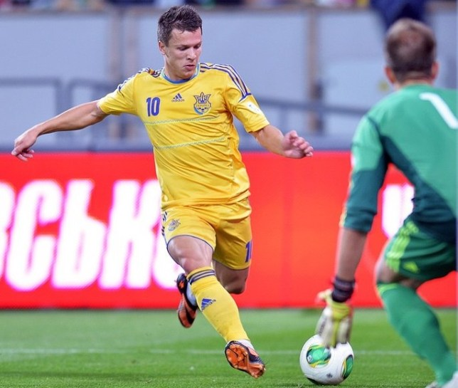 Danger man: Yevhen Konoplyanka fires home against San Marino on Friday (Picture: AFP/Getty Images)