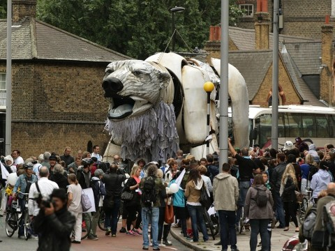Giant mechanical polar bear leads London Greenpeace march to save the Arctic