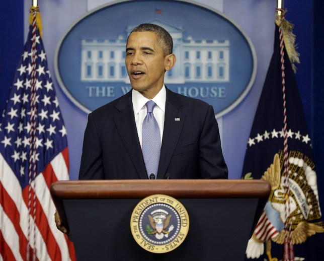 President Barack Obama speaks in the James Brady Briefing Room of the White House in Washington, Monday, Sept. 30, 2013, regarding the ongoing budget fight in Congress. AP