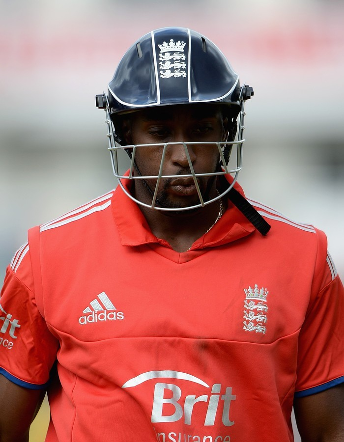 MANCHESTER, ENGLAND - SEPTEMBER 08:  Michael Carberry of England leaves the field after being dismissed by Mitchell Johnson of Australia during the 2nd NatWest Series ODI between England and Australia at Old Trafford on September 8, 2013 in Manchester, England. Getty Images