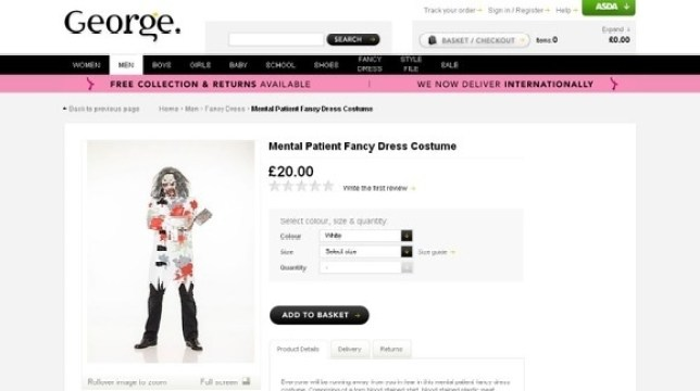 Outcry over Asda's 'mental patient' Halloween costume
