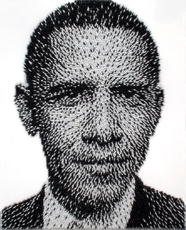 Soldiering on: The artwork reflects the president as he ordered the death of Osama bin Laden (Picture: Joe Black)