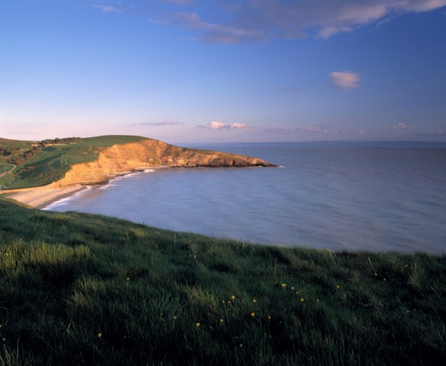 View down onto the sandy beach of Southerndown, located on the Glamorgan Heritage Coast.