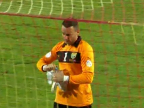 Oops! Macedonia start second half of Scotland match without their goalkeeper