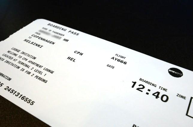 Boarding pass of flight AY666 from Copenhagen to Helsinki on Friday the 13th