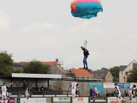 Parachutist stops play during Skrill Conference Premier match between Salisbury City and Chester