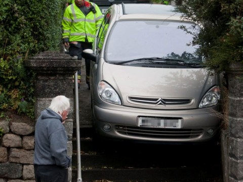 Try not to stair: Driver caught out by shortcut fail
